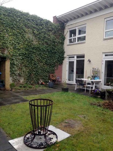 outdoor kitchen by the furthest wall (ivy)