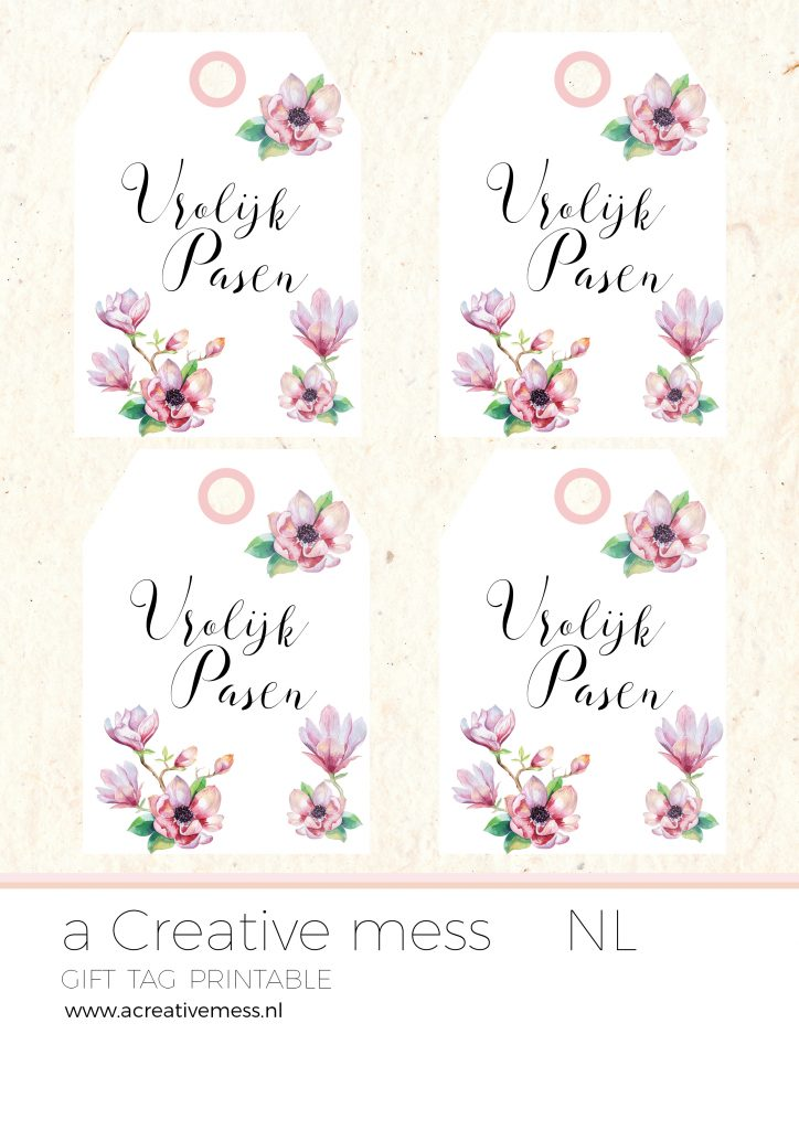 WATERCOLOR MAGNOLIA EDITABLE GIFT TAGS