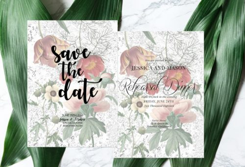 FREE Editable Vintage Floral Card Templates (set of 16)