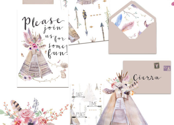 free boho invitation printable tee pee