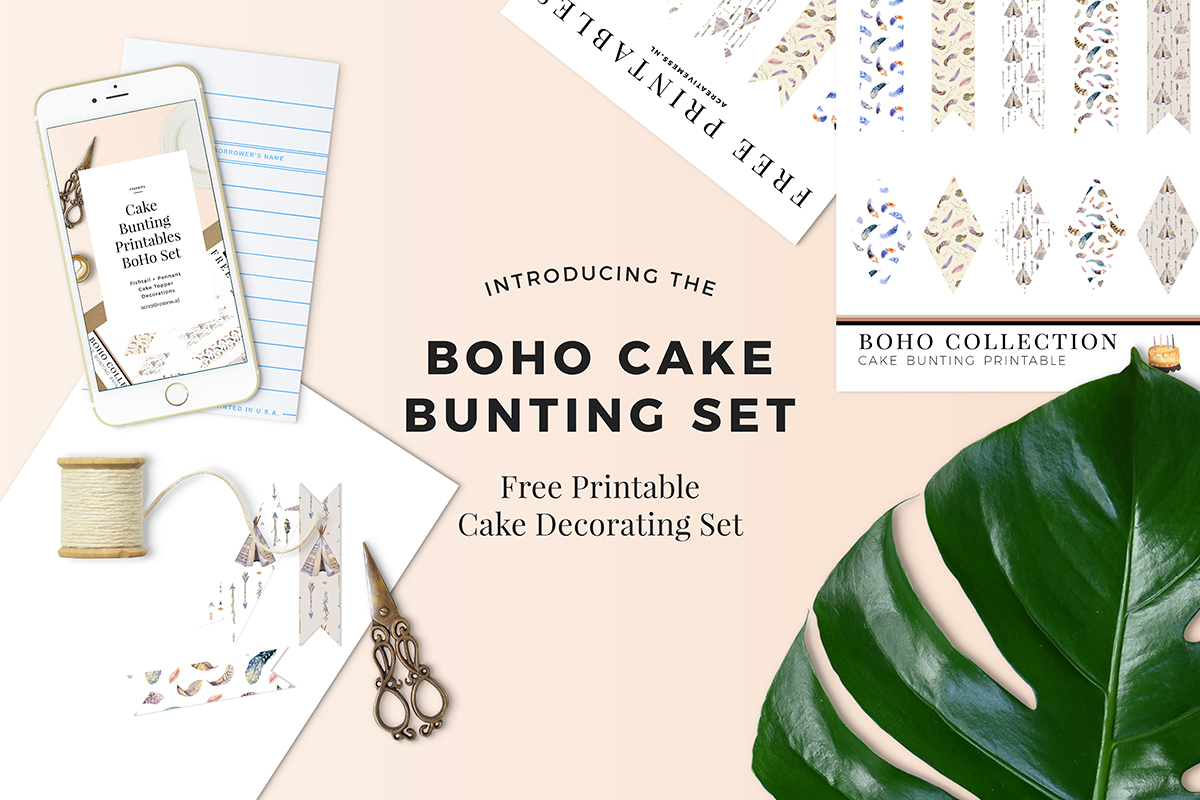 BOHO CAKE BUNTING SET FREE PRINTABLE A CREATIVE MESS [.NL] #freebies #freeprintables #caketopper #boho #bohoprintables #bohoparty #cakebunting #freepartyprintables #freepartydecorations #bunting